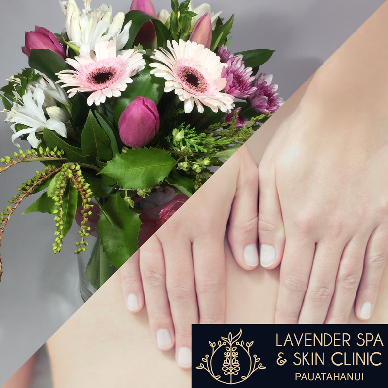 Flowers and back massage for Mother's Day from Fox Road and Lavender Spa & Skin Clinic