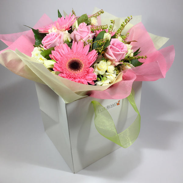 Flower gift bag with beautiful flowers from this Lower Hutt florist
