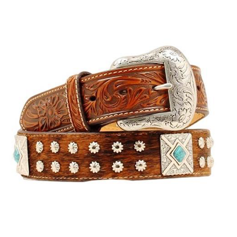 Nocona Men's Turquoise Square Concho Belt - N2495808