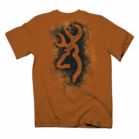 Mens Browning Turkey Track Buckmark Short Sleeve T-Shirt Texas Orange