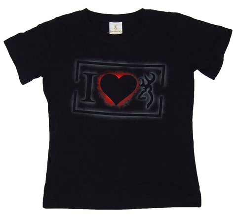 Browning Womens I Heart Browning Buckmark Love Classic Fit T-Shirt Black
