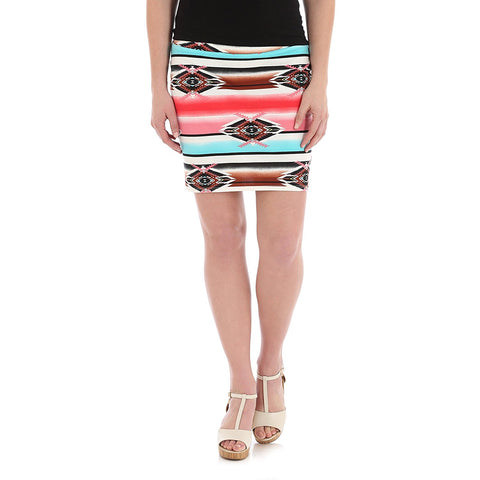 Wrangler Ponte Pencil Skirt LWS623M - Rouge/Jade Aztec Multi