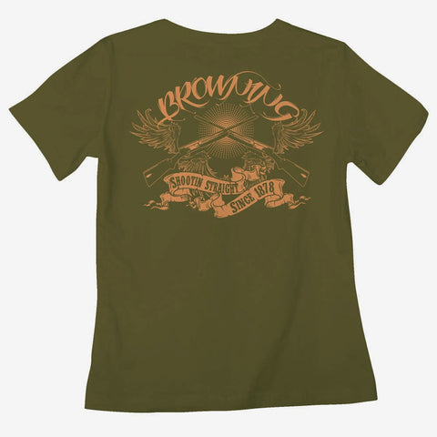 Browning Shootin' Straight Tee Buckmark Classic Fit Green T-Shirt Womens