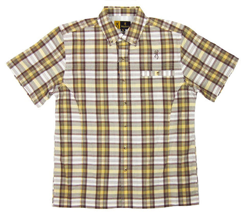 Browning Men's Performance Plaid Button Down Short Sleeve Shirt