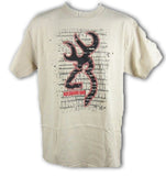 Browning Men'sNewspaper Short Sleeve Buckmark T-Shirt Sand Beige