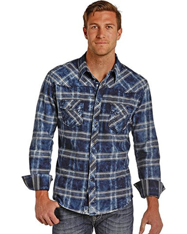 Rock and Roll Cowboy Men's and Bleach Washed Plaid Shirt - B2S4117