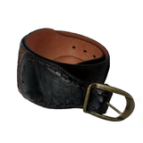 Corral Women's Dark Engraved Chocolate and Black Leather Belt - B0006