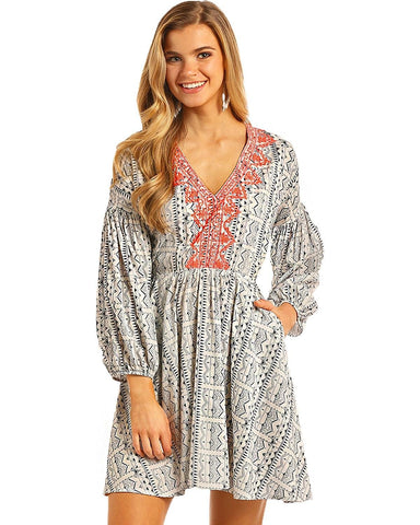 Rock and Roll Cowgirl Women's and Navy Aztec Print Dress - D4-4752