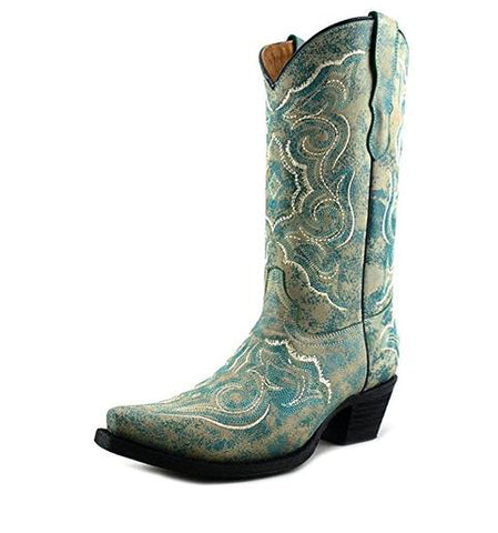 Corral Girls' Embroidered Turquoise Cowgirl Boot Snip Toe - E1051