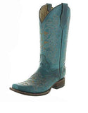 Women's Turquoise Embroidered Square Toe Cowgirl Boots - L5135