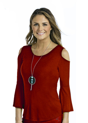 Women's Cold Shoulder Knit Red