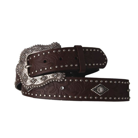 "AndWest 1 1/2"" Tooled and Studded with Diamond Conchos Belt - Blt512-20"