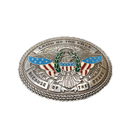 "M&F  ""Land of the Free Because of the Brave"" Oval Buckle - (3 Colors)"