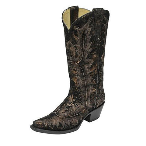Corral Women's Antique Snake Print Snip Toe Cowgirl Boot