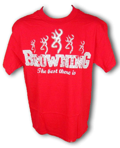 Browning Mens Repeat Buckmark Tee Promo Short Sleeve T-Shirt Red