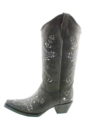 Women's Crackle Scroll Bone Embroidered Western Boot