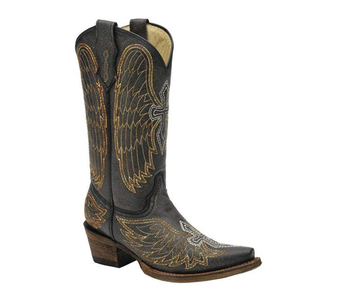 Girl's Wing & Cross Western Boot - A1029
