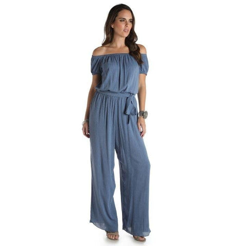 Wrangler Women' Ladies Denim Wide Leg Jumpsuit - LW6812B
