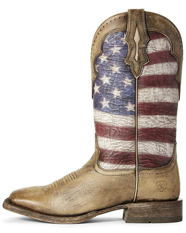 Ariat Men's Ranchero Stars and Stripes Western Boot, Naturally Distressed Brown