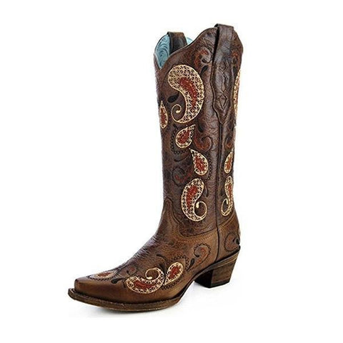 Women's Paisley Pattern Cowgirl Boot Snip Toe - A3042