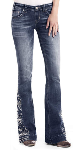 Rock & Roll Cowgirl Floral Leg Embroidered Jean Trouser - W8-1021
