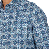 Wrangler Retro Premium Long Sleeve Button Down Shirt, Blue