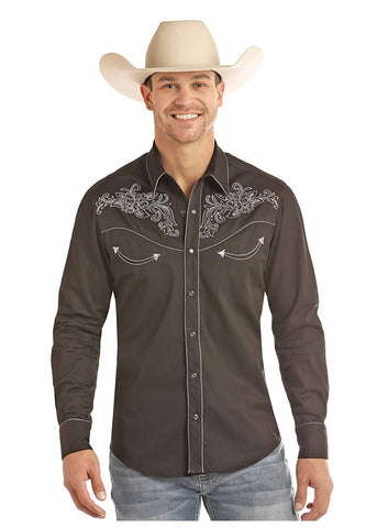 Rock and Roll Cowboy Retro Solid Long Sleeve Shirt, Black