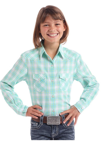 Panhandle White Label Girls Snap Long Sleeve Shirt Classic Pocket, Light Turquoise