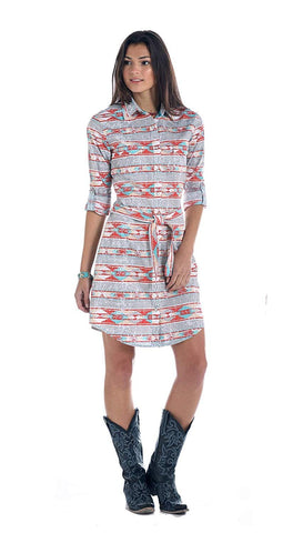 Rough Stock by Panhandle Lavaca Vintage Aztec Print Snap Dress, Grey