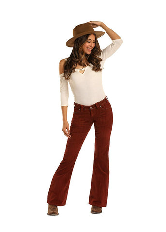 Rock and Roll Cowgirl Mid Rise Flare Leg Corduroy Pants, Rust, 26 x 34