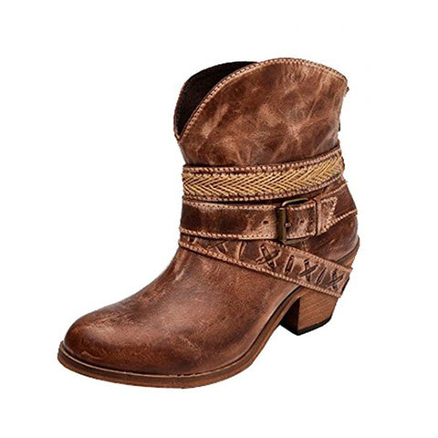 Corral Women's Cognac Mixed Straps Round Toe Ankle Boot - PB018