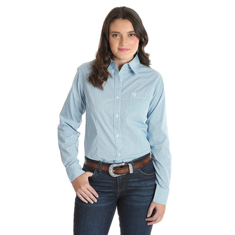 Wrangler George Strait for Her Long Sleeve Button Up Top, Blue