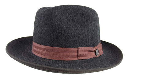 "Stetson Reginald Charcoal Grey Wool Fedora Size Large R Oval 2 1/8"" Brim"