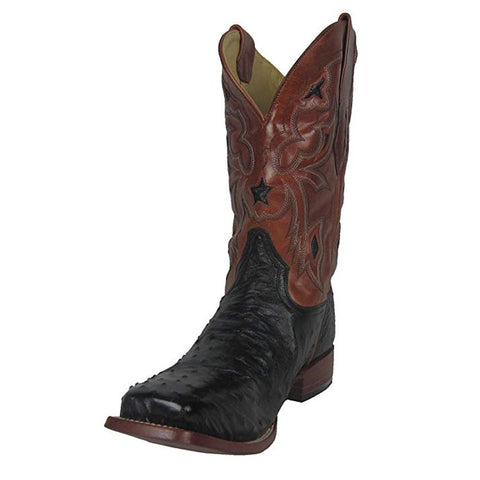 Men's Black Small Quill Ostrich Leather Star Inlay Square Toe Cowboy Boot - A1317