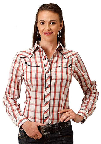 Roper Apparel Women's Long Sleeve Shirt, Plaid with Piping