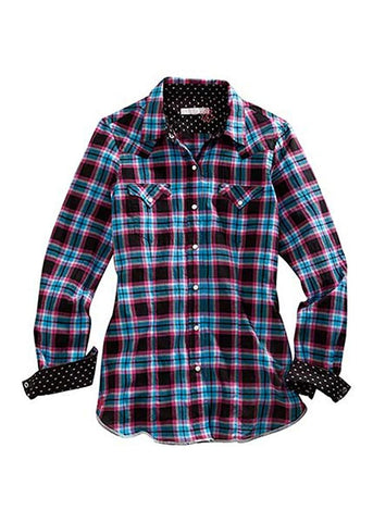 Tin Haul Apparel Long Sleeve Snap Shirt Plaid, Rose Check