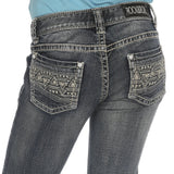 Rock and Roll Cowgirl Girls Multi Stitch Bling Jean 8