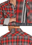 Rock and Roll Cowboy B2S8026 Long Sleeve Plaid Snap Front Top