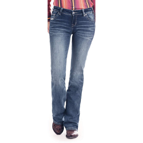 Rock & Roll Cowgirl Riding Bootcut Leather Signature Jean - W7-2526
