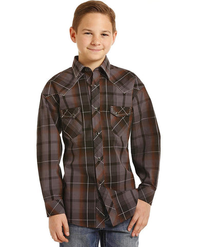 Rock & Roll Cowboy Boys Yarndye Poplin Plaid Long Sleeve Snap Shirt