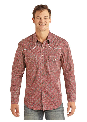 Rock and Roll Cowboy Light Mineral Wash Crinkle Long Sleeve Shirt, Red, Large