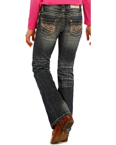 Rock & Roll Cowgirl Girls' and Blue Aztec Embroidered Jeans Boot Cut Blue 8