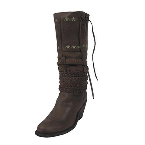 Corral Women's Distressed Brown Multi Braided Strap Round Toe Cowgirl Boot - R1307