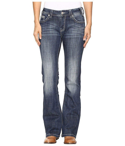 Rock and Roll Cowgirl Womens Mid-Rise Bootcut Jeans in Dark Vintage W1-9618