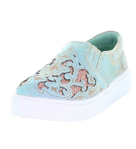 Corral Turquoise and Pink Glitter Inlay Slip-On Sneaker - E1564