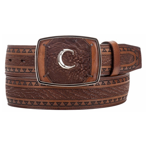 Cuadra Mens Exotic Honey Shark Leather Western Belt C Brand Buckle CVQJ4TI/BC093