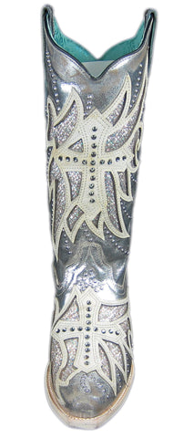 CORRAL Ladies Boots Laser Inlay Embroidered Studded, Silver E1546