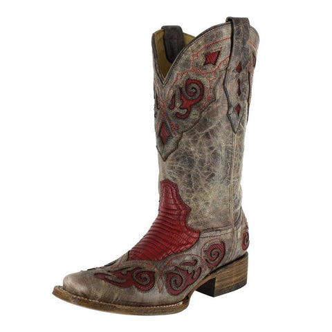 Corral Women's Teju Lizard Inlay Square Toe Cowgirl Boots - A2619