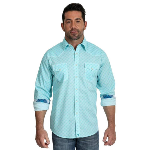 Wrangler Apparel Mens 20X Turquoise/White Printed L/S Shirt