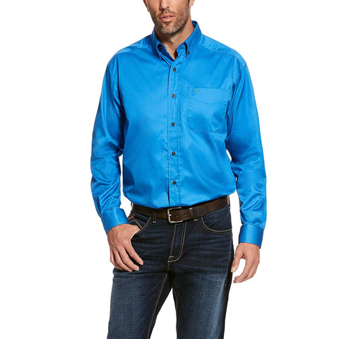 ARIAT Men's Solid Twill Shirt Campanula Blue
